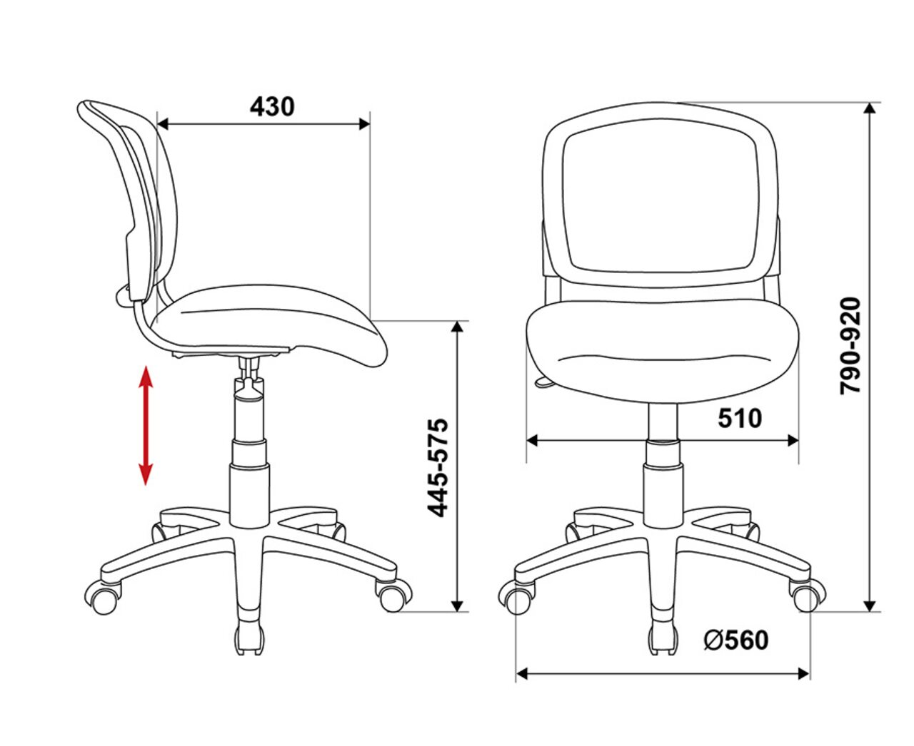 Кресло для персонала CH-296/BL/15-10 - фото 5