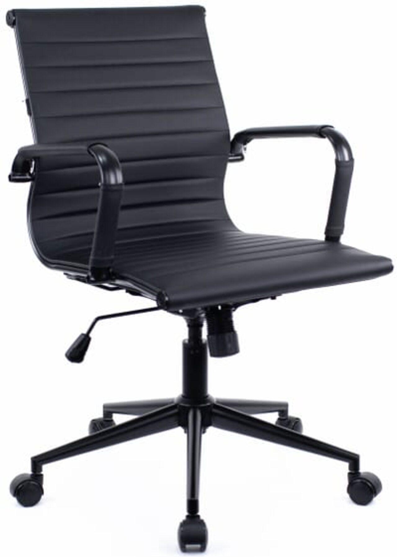 Кресло для персонала Leo Black T экокожа - фото 1