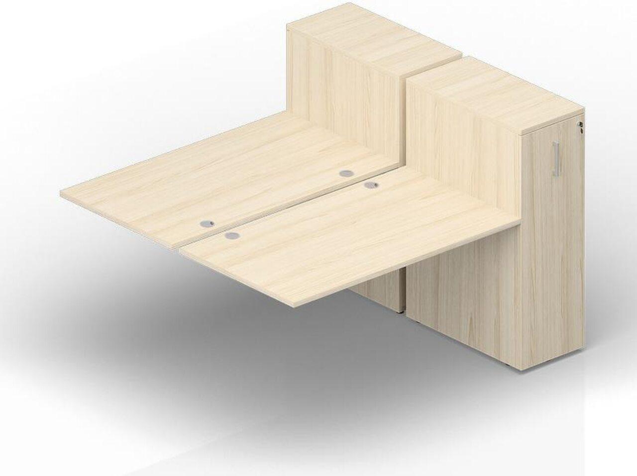 Составной стол на 2 рабочих места с приставными шкафами Tower  Polo 140x165x112 - фото 1