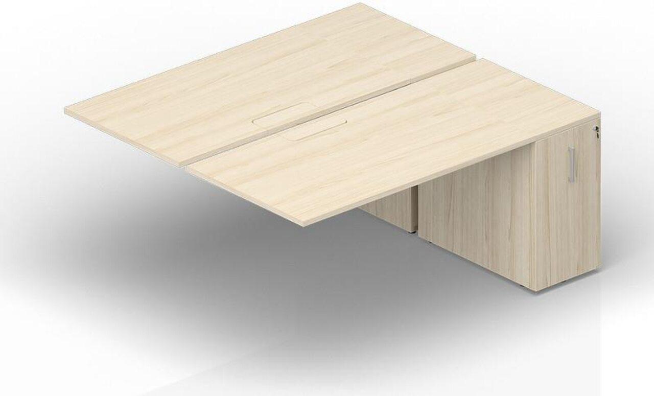 Составной стол на 2 рабочих места с приставными шкафами Tower  Polo 140x165x72 - фото 1