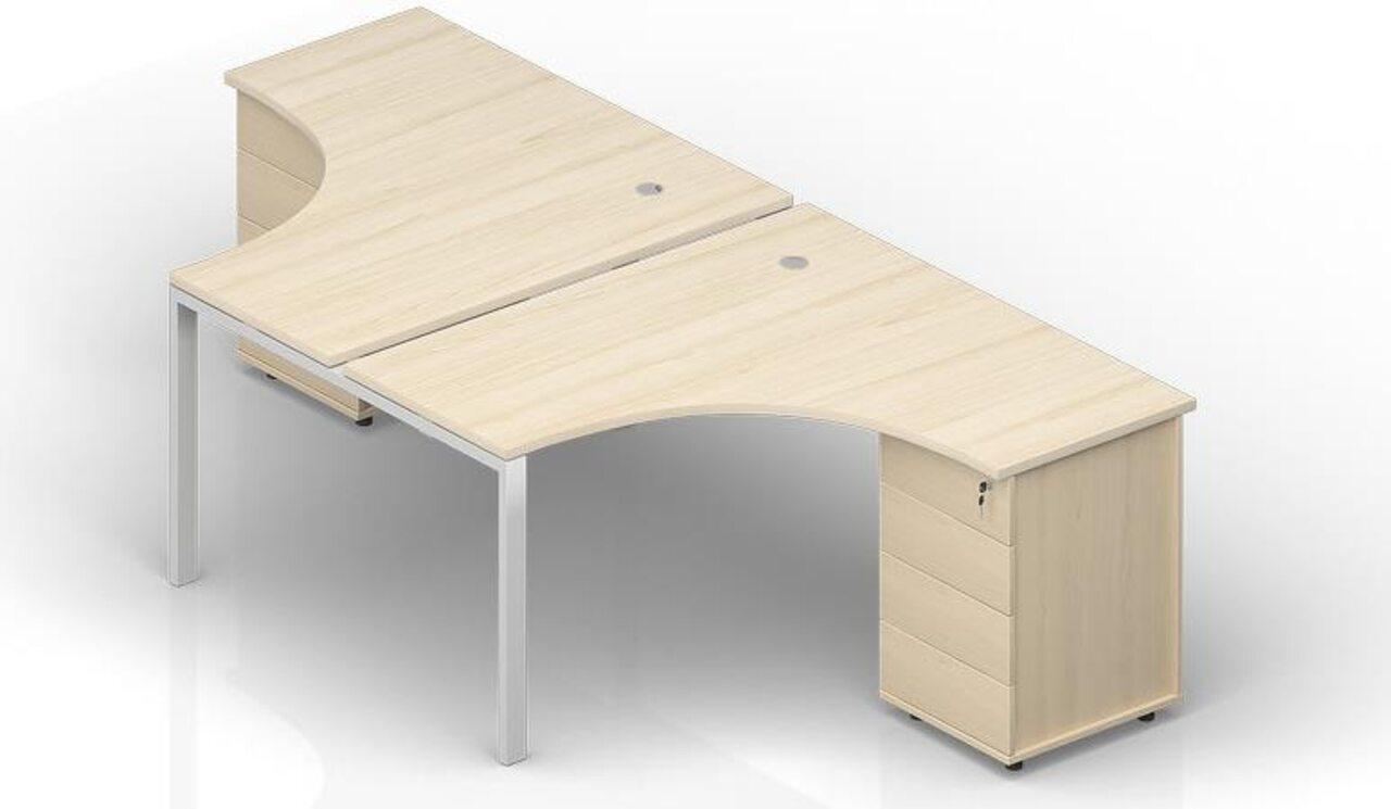 Составной стол на 2 рабочих места на опорных тумбах - фото 1