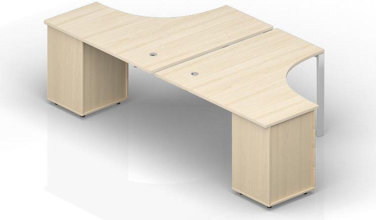 Составной стол на 2 рабочих места на опорных тумбах - приставной элемент - фото 1