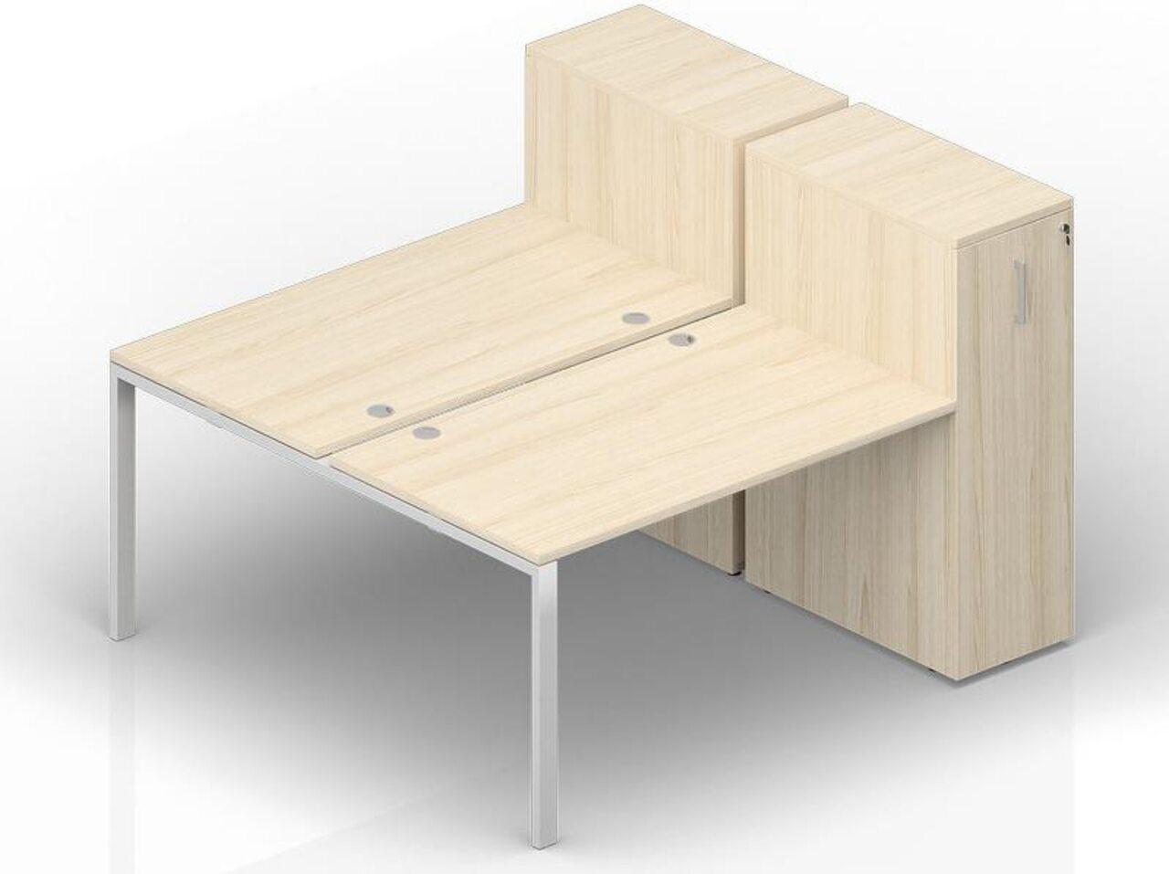 Составной стол на 2 рабочих места с приставными шкафами Tower  Strike 160x165x112 - фото 1