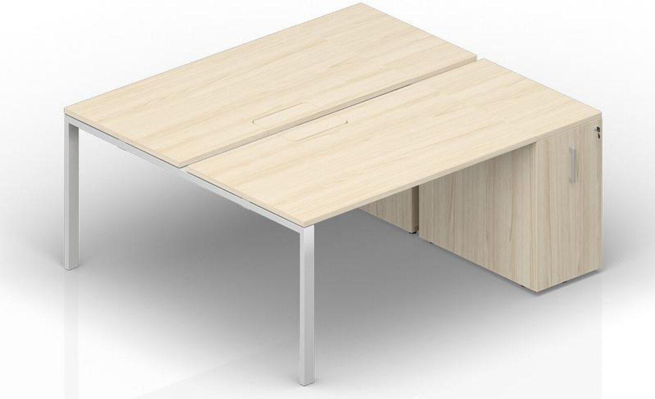 Составной стол на 2 рабочих места с приставными шкафами Tower  Strike 140x165x72 - фото 1