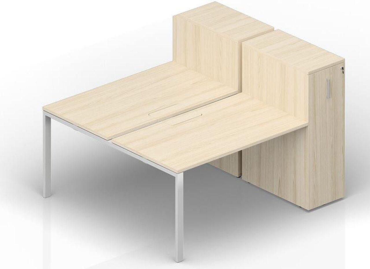 Составной стол на 2 рабочих места с приставными шкафами Tower  Strike 140x165x112 - фото 1