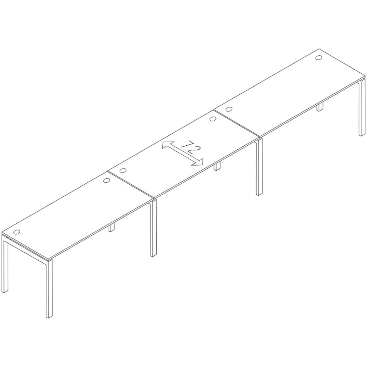 Бенч-система на 3 места линейная  TREND 480x72x75 - фото 1
