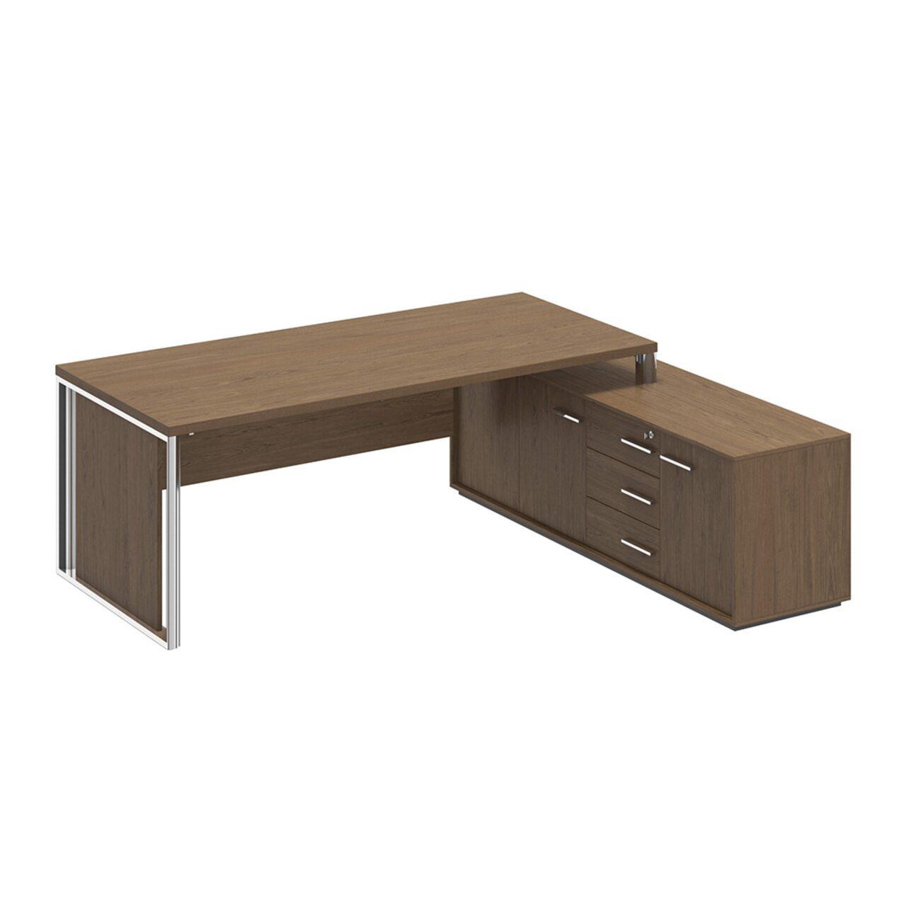 Стол руководителя на опорной тумбе правый с декоративной вставкой  ORION 222x180x75 - фото 1